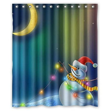 HelloDecor Christmas Snowman Moon Stars Shower Curtain Polyester Fabric Bathroom Decorative Size 60x72 Inches