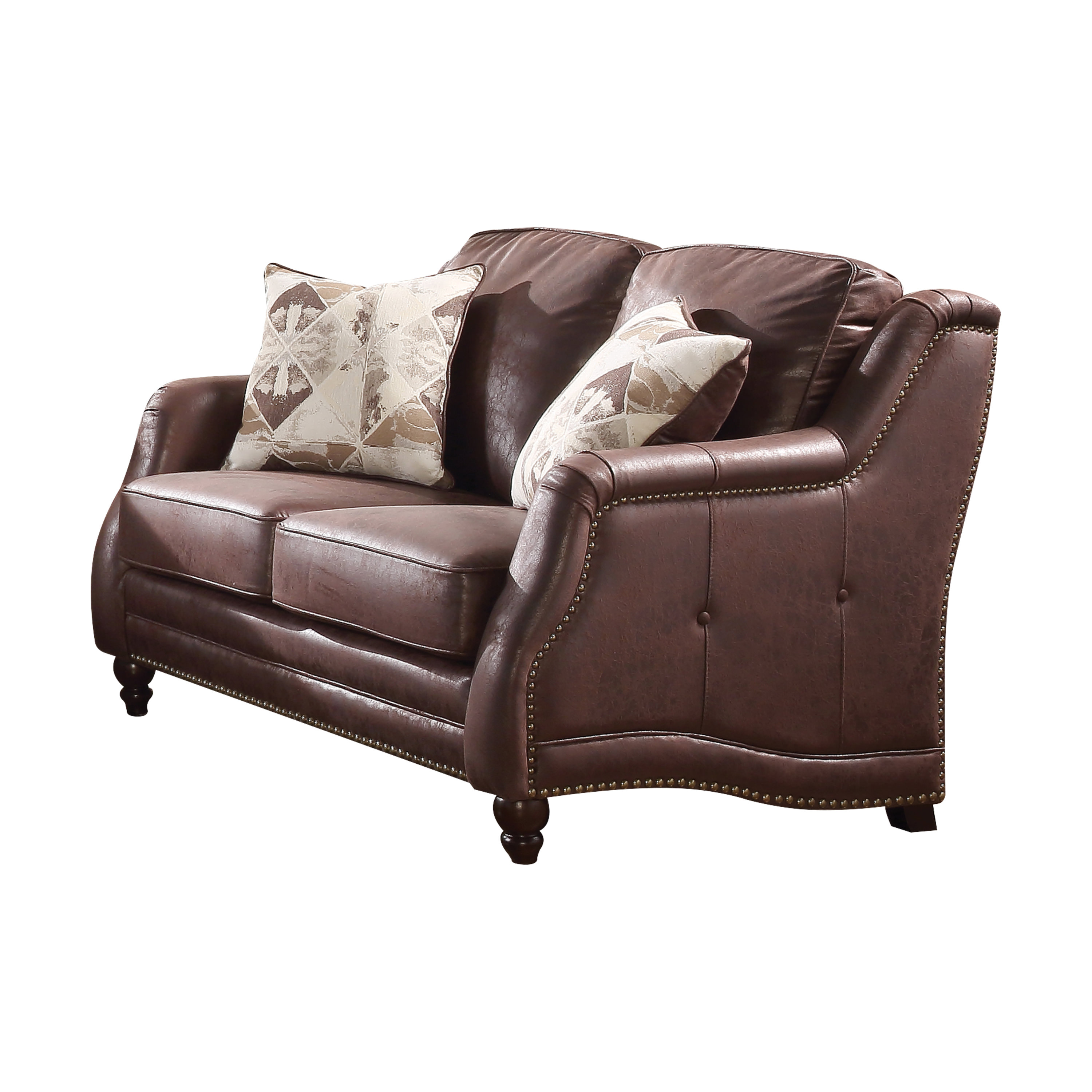 Acme Nickolas Stationary Loveseat with 2 Pillows in Chocolate Fabric