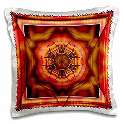 3dRose MANDALA meditation harmony InnerPeace red pink gold zen joy chakra energy glowing NewAge, Pillow Case, 16 by