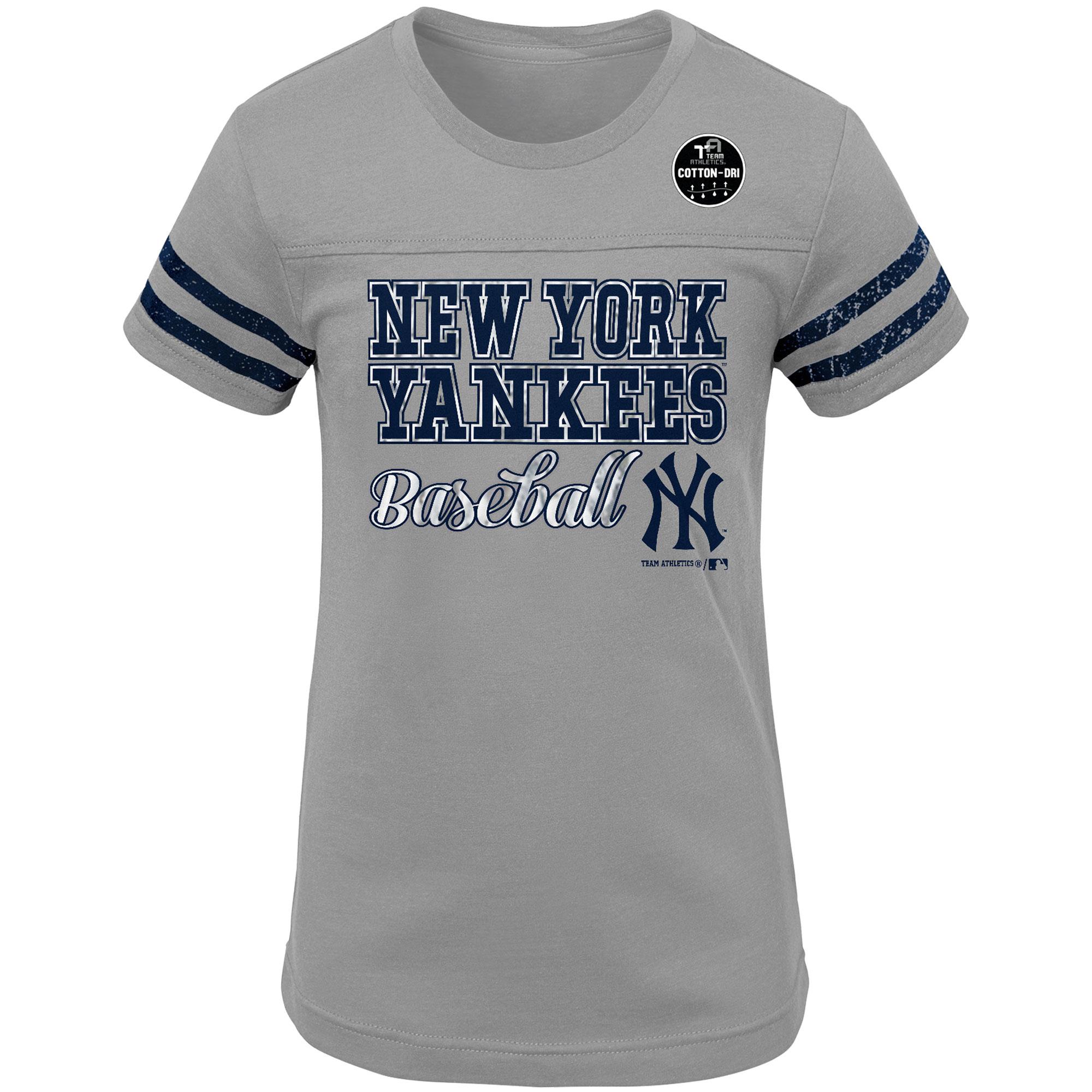 Girls Youth Gray New York Yankees Play Dri T-Shirt