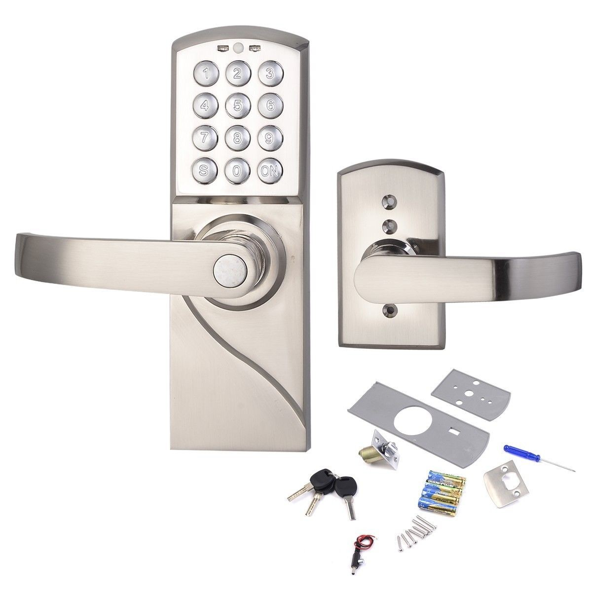left handed digital keypad door lock with backup keys electronic keyless entry by password code walmartcom