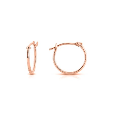 14k Solid Cufflinks - Solid 14k Rose Gold 12mm French Lock Hoops