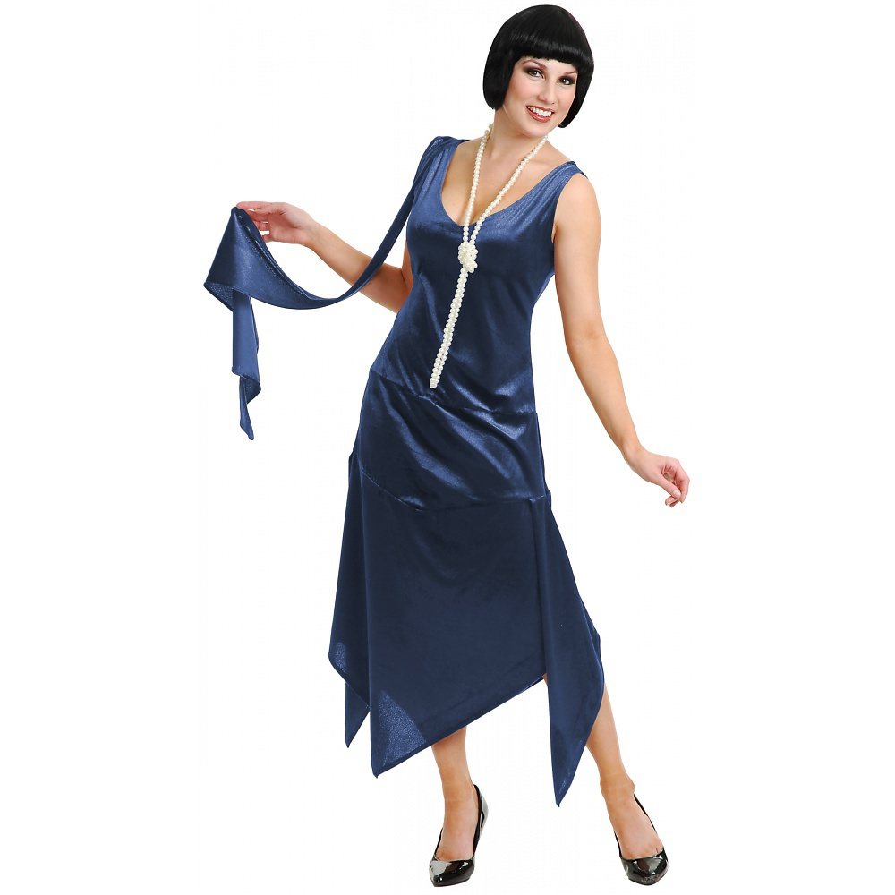 Sandy Speak Easy Flapper Adult Costume Dark Blue - X-Small
