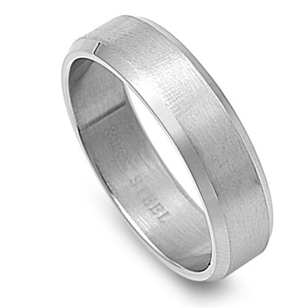 Men's Brushed Ring Wholesale Polished Stainless Steel Band New 6mm Size 10 (Wholesale Stainless Steel Rings)