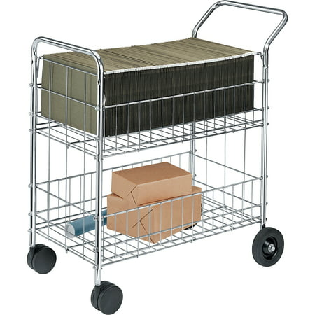 Fellowes Chrome-Plated Wire Mail Cart, 200 lb (200 Lb Test Leader)