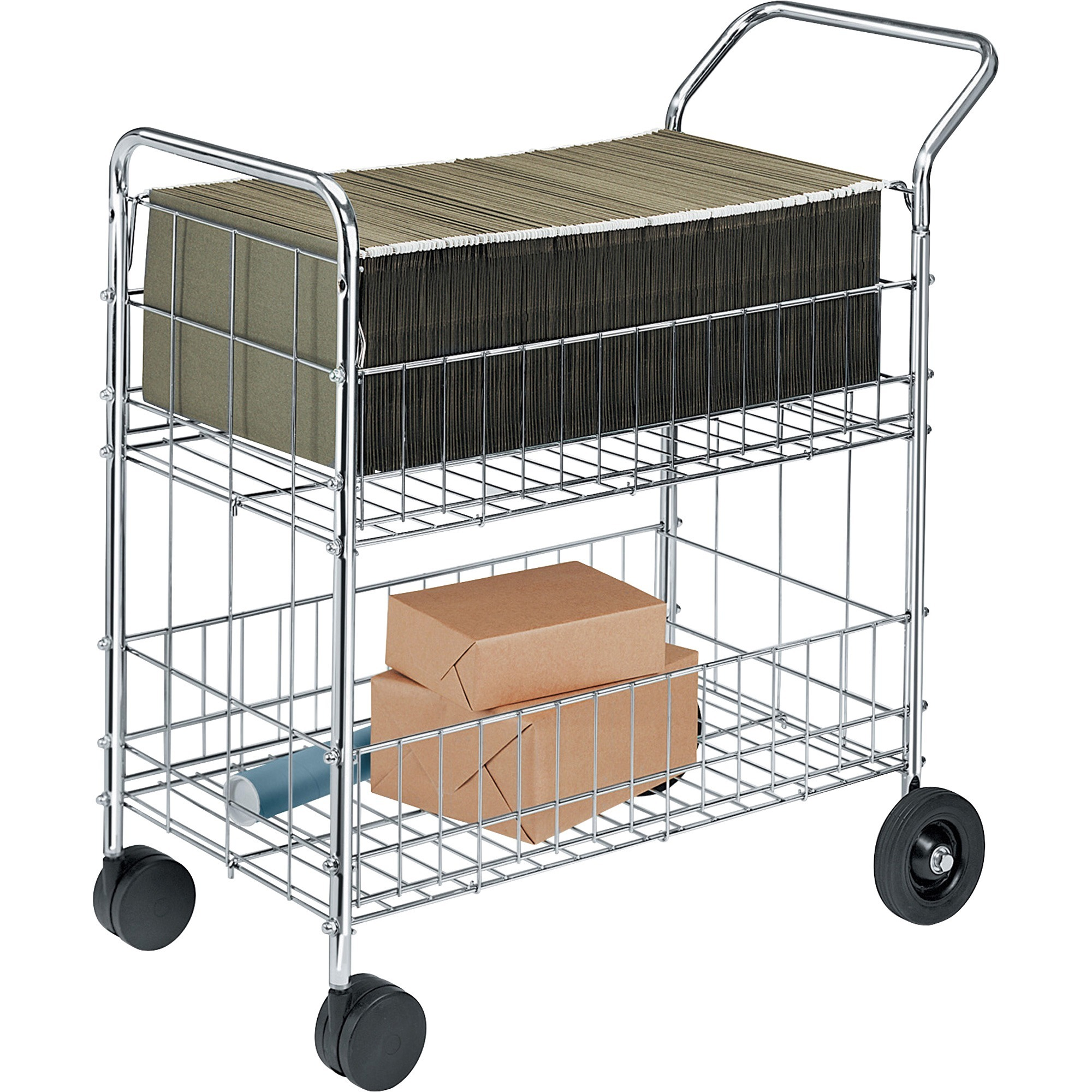 Fellowes Chrome-Plated Wire Mail Cart, 200 lb capacity