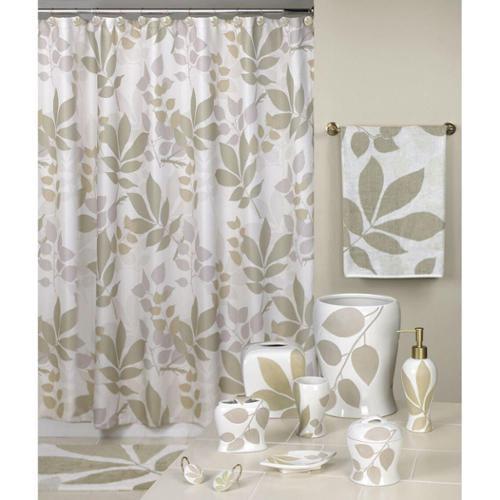 Shadow Leaves Shower Curtain and Bathroom Accessories Separates Bath Rug