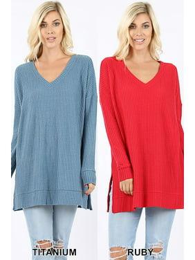8910c6e974f Product Image Women s Brushed Thermal Waffle V-Neck Sweater (Plus Size)