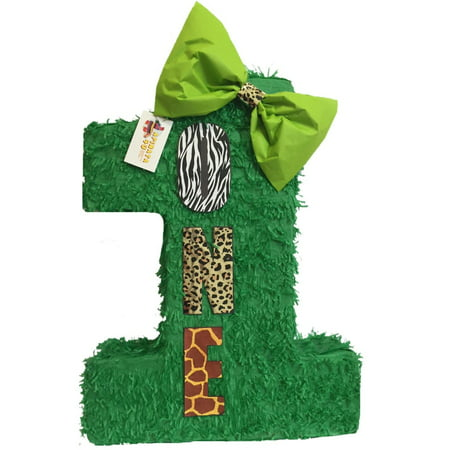 Safari Themed Giveaways (APINATA4U Large Green Number One Pinata with Bow 23