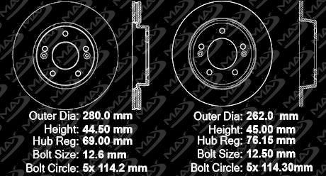 KT148343 Fits: 2014 14 2015 15 Fit Kia Forte5 EX OE Series Rotors + Ceramic Pads Max Brakes Front /& Rear Premium Brake Kit