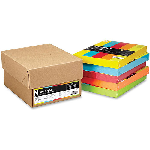 Wausau Astrobrights 24 lb Colored Paper - Five Assorted Reams, 24lb, 8 1/2 x 11, 5 Colors, 1250 Sheets