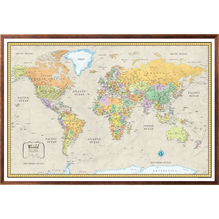32x50 RMC World Classic Push-Pin Travel Wall Map Foam Board Mounted or  Framed (Framed Black)