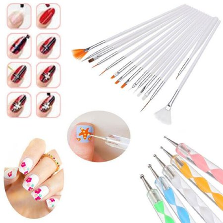 20Pcs Beauty Nail Art Design Set Dotting Painting Drawing Polish Brush Pen Tools - Painting Halloween Nails