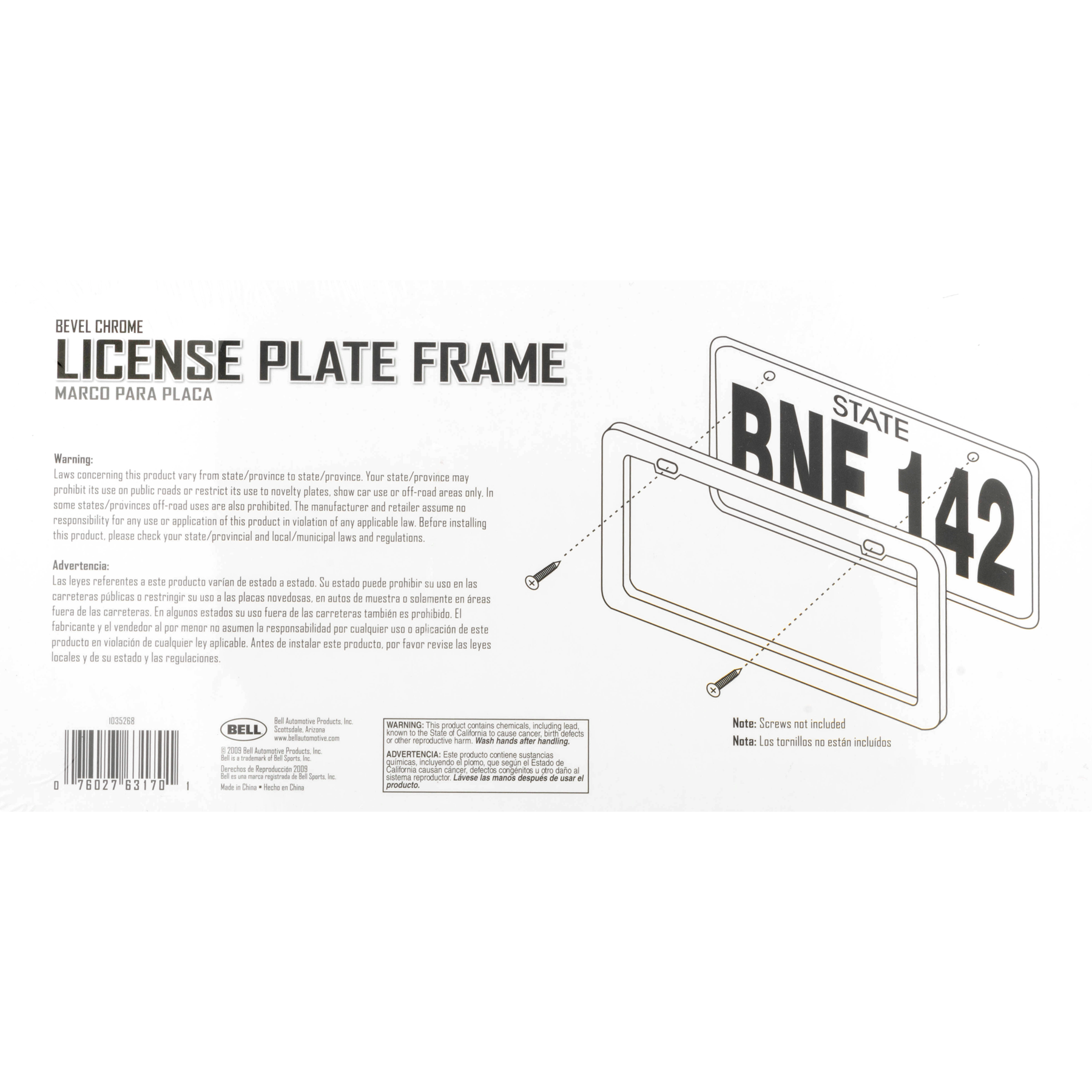 Bell Bevel Chrome License Plate Frame, 1.0 CT - Walmart.com