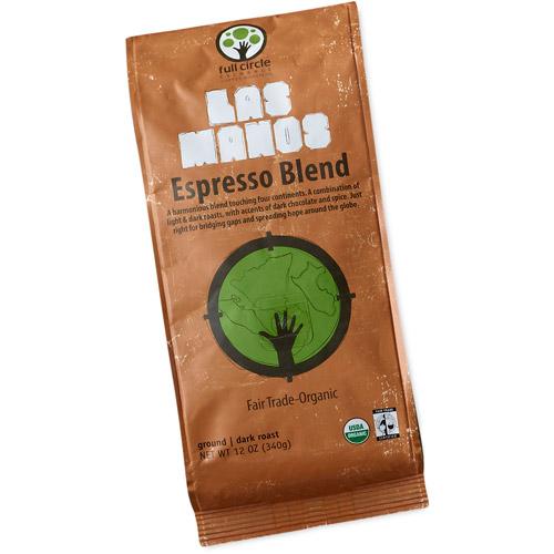 Full Circle Exchange Las Manos Espresso Blend Dark Roast Ground Coffee, 12oz