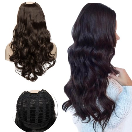 S-noilite Synthetic Hair Extension Clips ins Straight Curly Wavy Full Head Wig False Hair Wigs Black,26