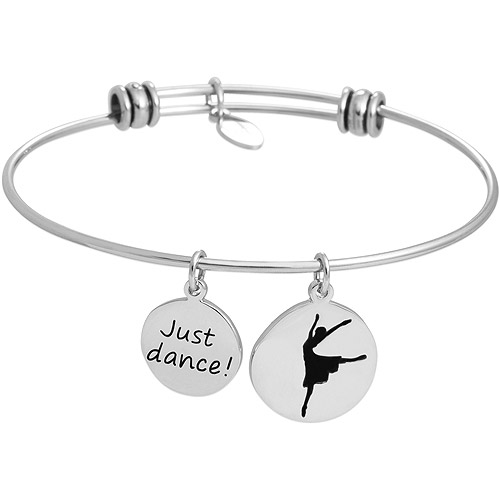"Connections from Hallmark Stainless Steel ""Just Dance"" and Ballerina Multi-Charm Wire Bangle"