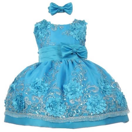 Baby Girls Turquoise Sequin Floral Embroidery Flower Girl Dress 6M - Baby Blue Dresses For Girls
