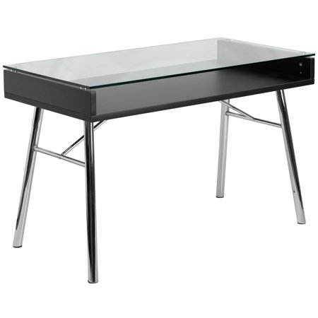 Flash Furniture Brettford Writing Desk with Tempered Glass Top, Black ()
