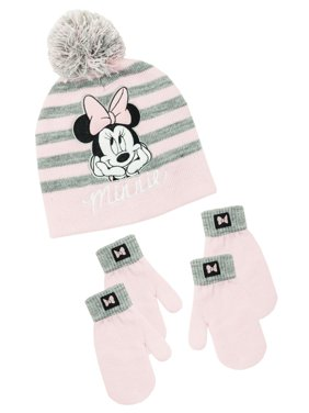 Infant Toddler Girl's Minnie Mouse Hat and 2 Pair Mitten Set