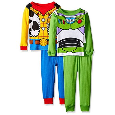 8192966fd Disney - Toy Story Woody Buzz Boys 4 piece Costume Pajamas Set (2T,  Blue/Green/Multi) - Walmart.com