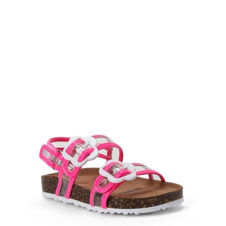 Wonder Nation Flower Footbed Slide Sandal (Toddler Girls)