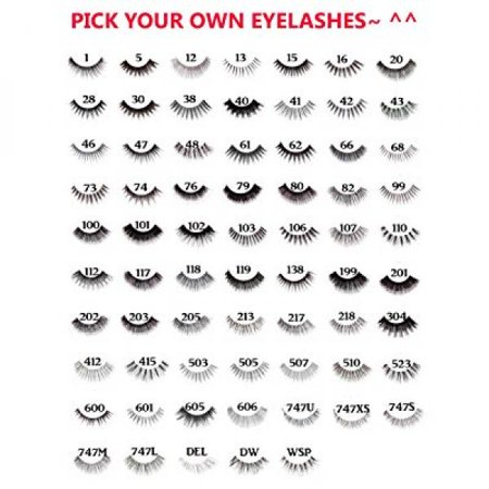 10 Pairs of Red Cherry 100% Human Hair False Eyelashes Pick Your Choice of any 10 Pairs - Mighty
