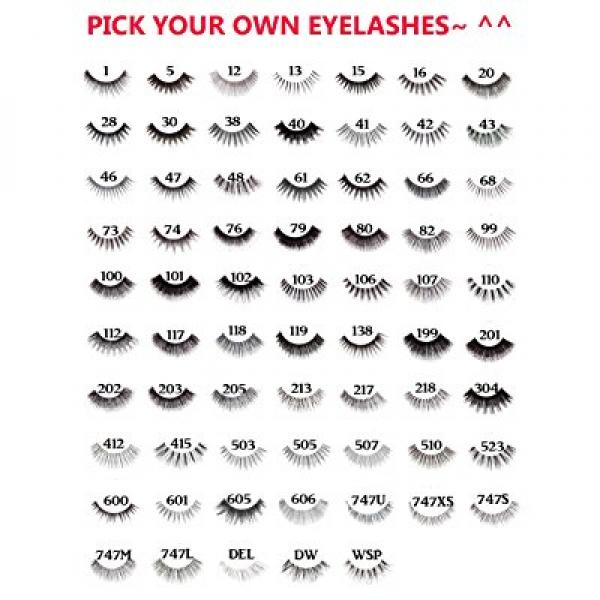10 Pairs of Red Cherry 100% Human Hair False Eyelashes Pick Your Choice of any 10 Pairs - Mighty Gadget