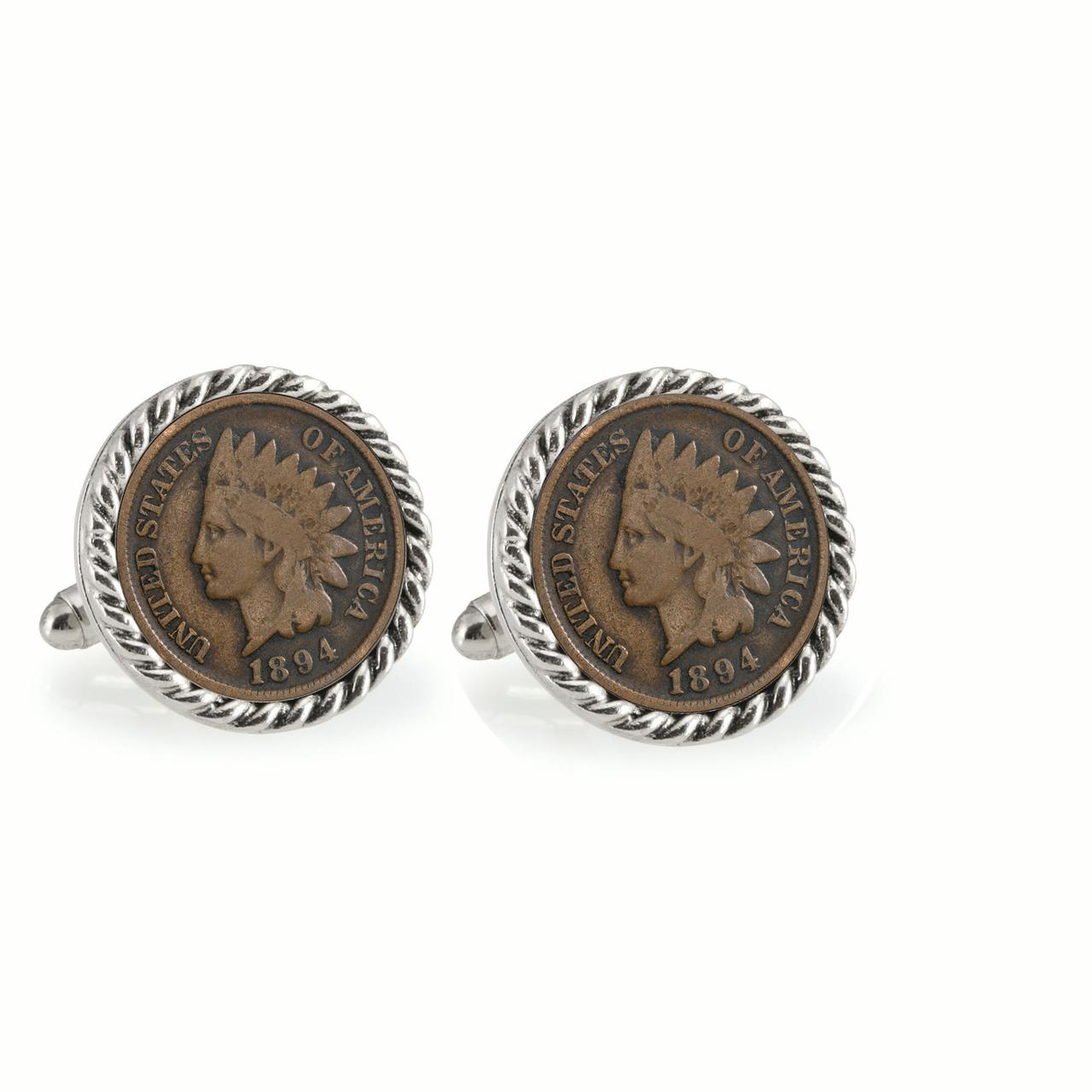 1800's Indian Head Penny Silvertone Rope Bezel Coin Cuff Links
