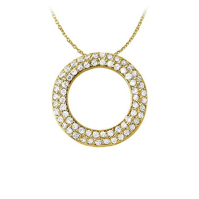Fine Jewelry Vault UBNPD31530AGVYCZ April Birthstone Cubic Zirconia Pretty Circle Pendant in Yellow Gold Vermeil with Free Chain