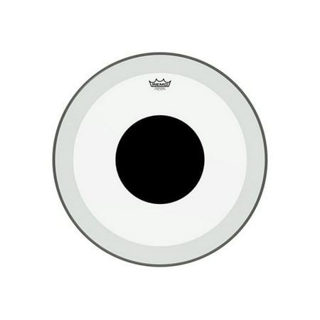 "Remo Powerstroke P3 Clear Black Dot Bass Drumhead - Top Black Dot - 24"""