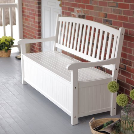Coral Coast Pleasant Bay 4 ft. Curved-Back Outdoor Wood 40-Gallon Storage Bench - White ()
