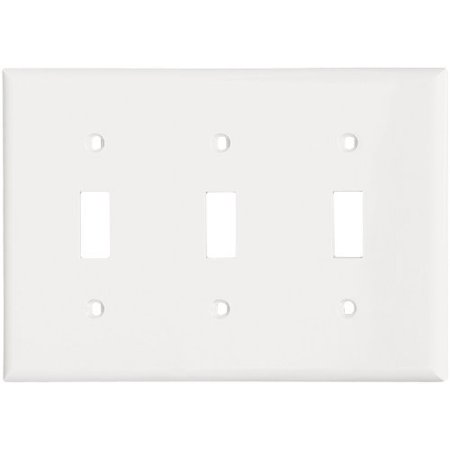 Cooper 5141W White Unbreakable Three Gang Toggle Light Switch Wall Plate