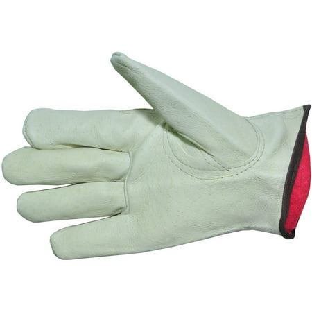 Cold Weather Premium Genuine Grain Pig Skin Leather Gloves With Red Fleece Lining  3 Pair