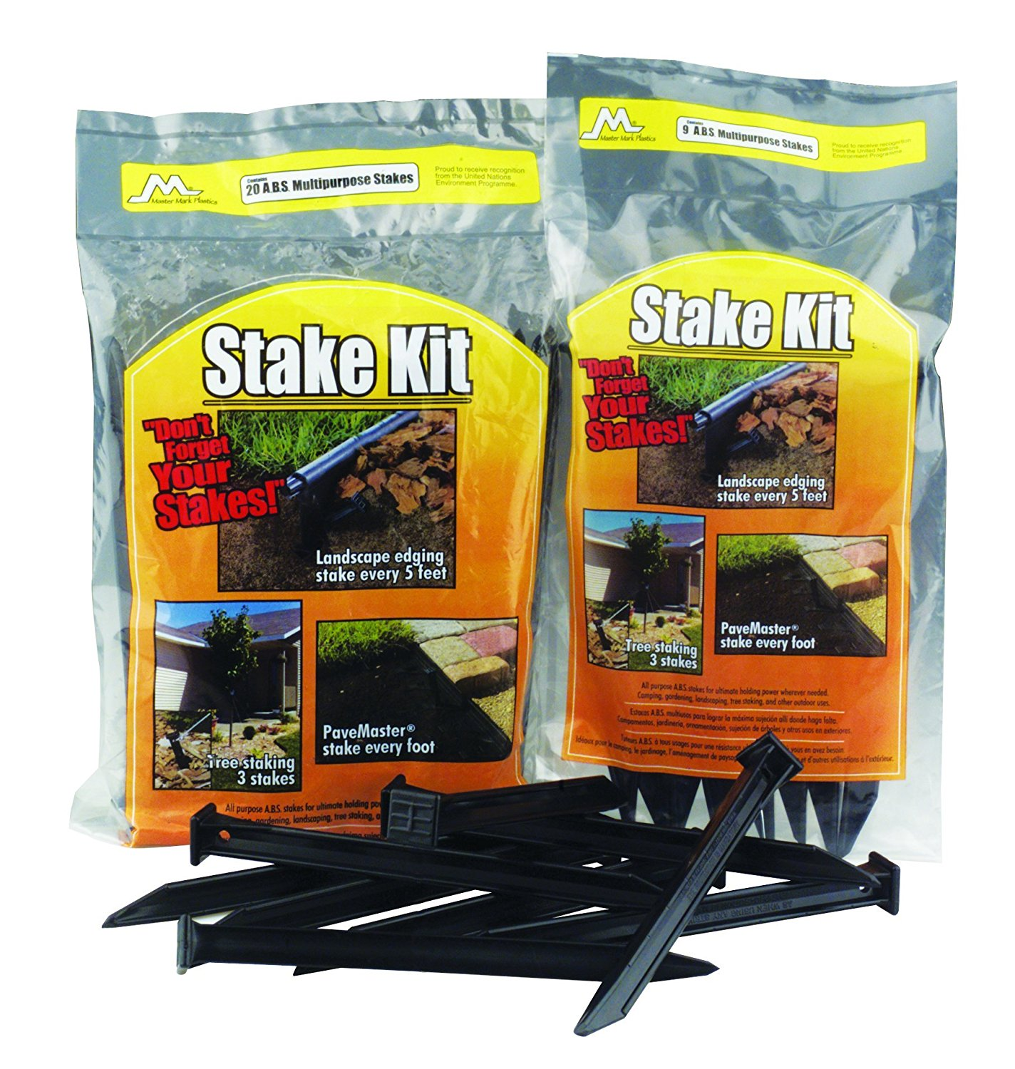 12120 ABS Plastic Stake Anchors For Landscape Edging 10 Inch, 20 Pack, Can be used for all type of landscape and pavemaster edging By Master Mark Plastics