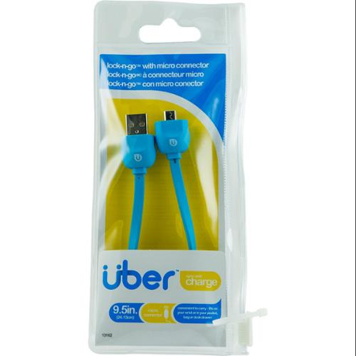 Uber 13162 Lock & Go Micro Usb Sync Charge Bracelet-style Cable, 178mm [blue]