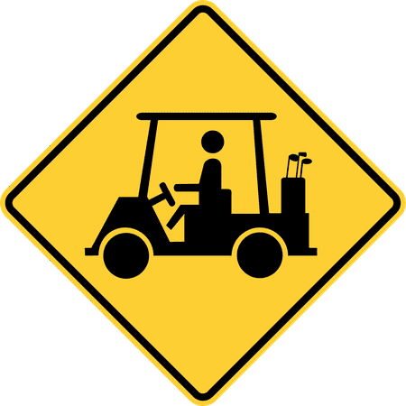 Traffic Signs - Golf cart crossing Heavy Duty 12 x 8 Peel-n-Stick Sign Street Weather Approved Sign 19th Hole Golf Sign