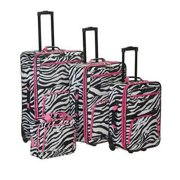 4Pc Pink Zebra Luggage Set, Pink Zebra