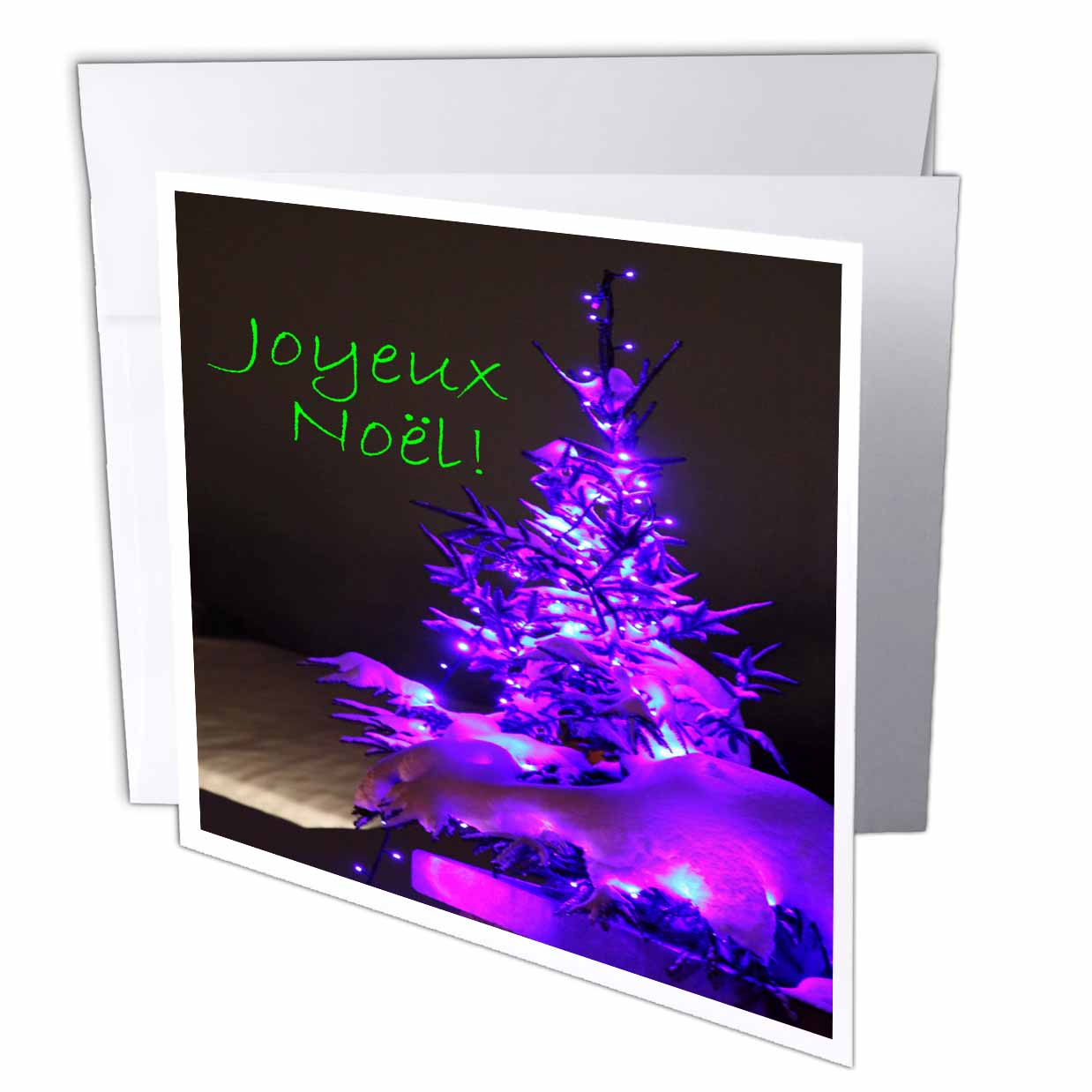 3dRose Pretty Christmas Tree Joyeux Noel in Purple with Green Text, Greeting Card, 6 x 6 inches, single