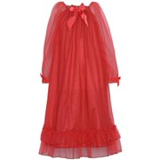 Red Sheer Satin Bow Ruffle Nightgown Little Girls 4-6X