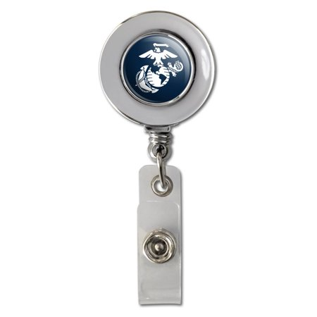 Id Anchor - Marine Corps USMC White Eagle Globe Anchor on Blue Officially Licensed Retractable Reel Chrome Badge ID Card Holder Clip