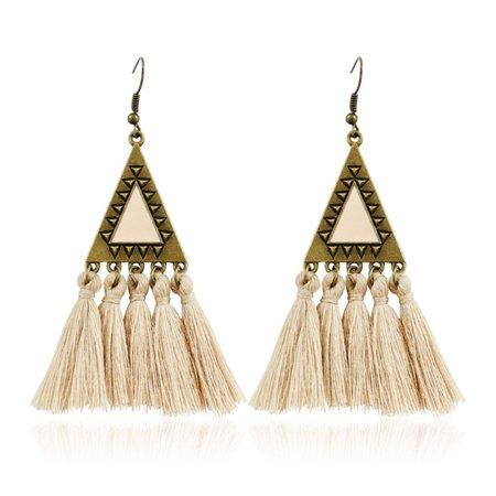 AkoaDa New Charm Jewelry Bohemian Colorful Triangle Tassel Statement Earrings Boho Ethnic Long Fringed Earring For Women Drop Earrings Charm Earrings Jewelry