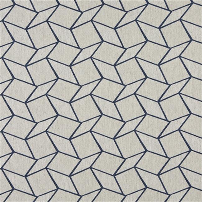 Designer Fabrics K0007E 54 inch Wide Blue And Off White, Geometric Boxes, Designer Quality Upholstery Fabric