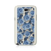 Insten Hard Crystal Rubber Skin Back Protective Shell Cover Case For Samsung Galaxy Note II - Blue/White Rose