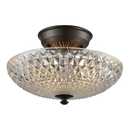 Semi Flush 2 Light With Oil Rubbed Bronze Finish Clear Crystal Medium Base 12 inch 120 Watts - World of Lamp (World Bronze Flush)