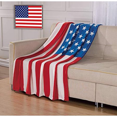 Décor&More July 4th Stars & Stripes American Flag Ultra Lush Oversized Throw Blanket (50