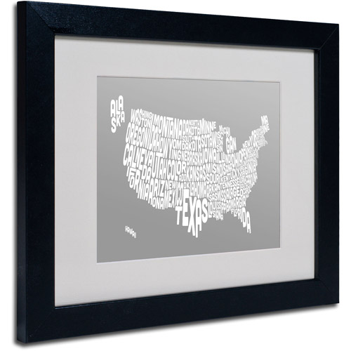 "Trademark Fine Art ""GREY-USA States Text Map"" Matted Framed by Michael Tompsett"