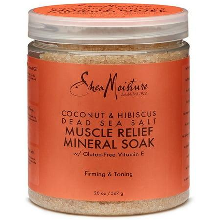Premier Dead Sea Moisture (2 Pack - Shea Moisture Coconut & Hibiscus Dead Sea Salt Muscle Relief Mineral Soak for Unisex 20 oz )