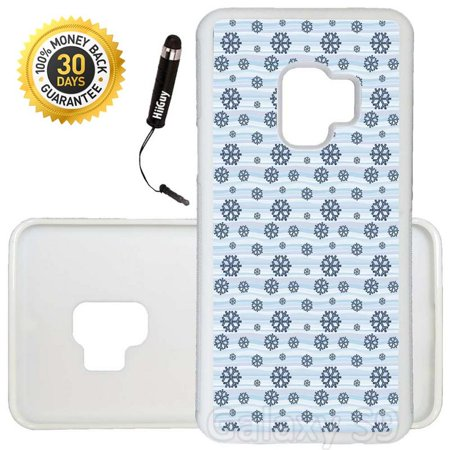 - Custom Galaxy S9 Case (Snowflakes Blue Pattern) Edge-to-Edge Rubber White Cover Ultra Slim | Lightweight | Includes Stylus Pen by Innosub