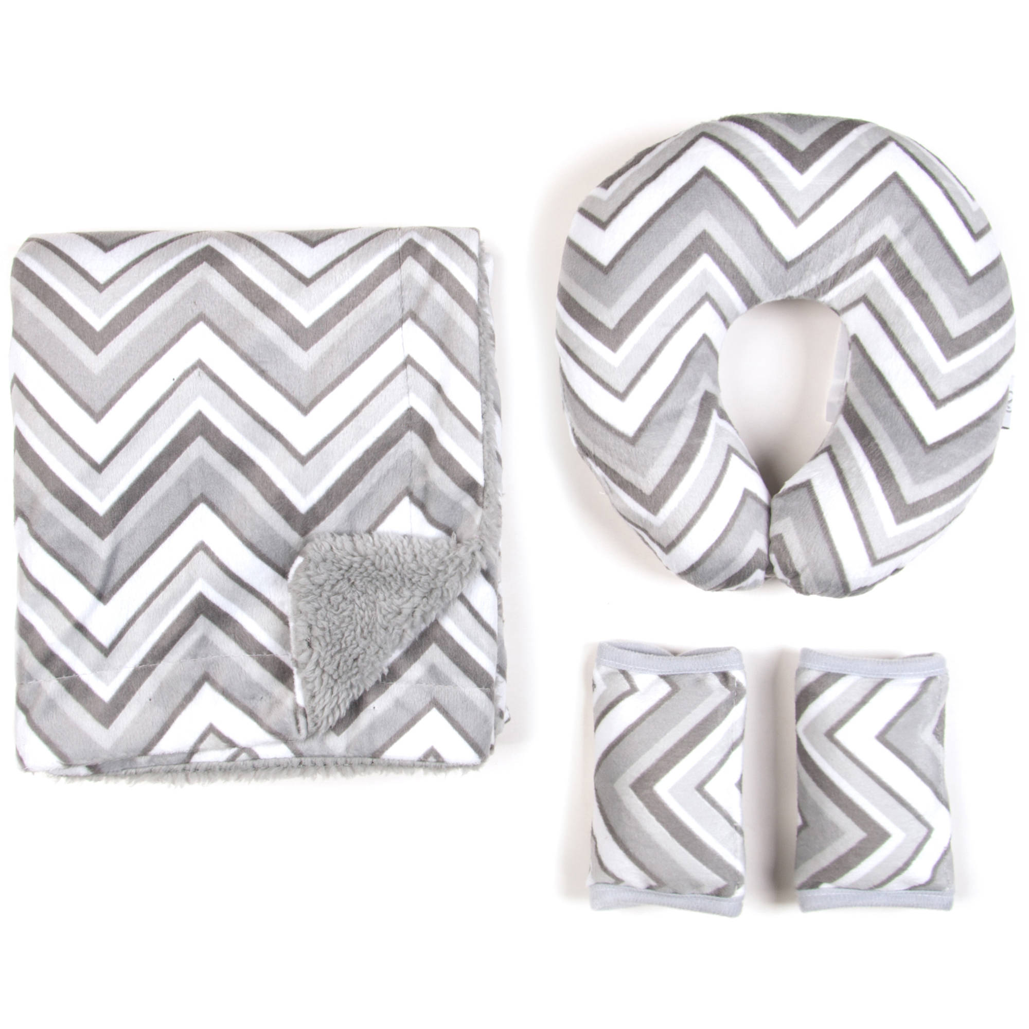 Tadpoles Kids Travel Pillow with Matching Blanket and Strap Covers, Grey Chevron